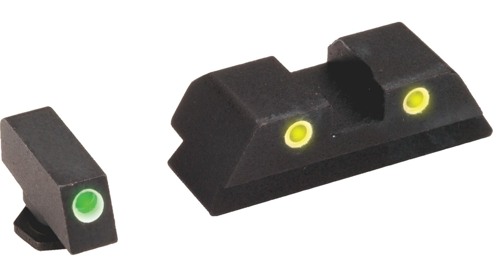 Ameriglo Gl5115 Classic 3 Dot Night Sight Glock 17/19/19x/26/34 Gen5 Green Tritium W/White Outline Yellow W/White Outline Black