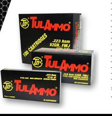 Tulammo TA223556 Centerfire Rifle 223 Remington/5.56 NATO 55 GR Full Metal Jacket 20 Bx/ 50 Cs