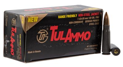 Tulammo UL076215 Centerfire Rifle 7.62x39mm 122 GR Full Metal Jacket 40 Bx/ 25 Cs