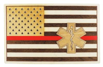 EMS FLAG WOOD SIGN