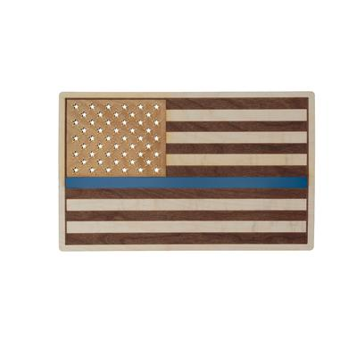 Thin Blue Line / Thin Red Line Wood Flag