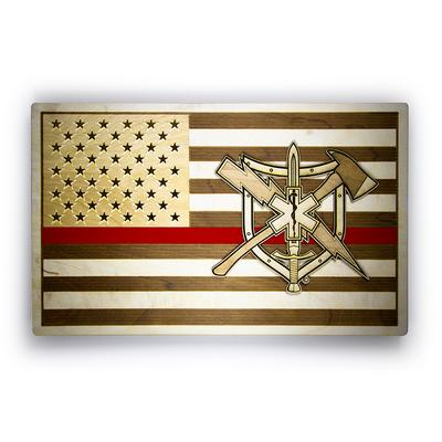 RESCUE TASK FORCE WOOD FLAG SIGN