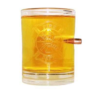 FIRE DEPT LOGO WHISKEY GLASS