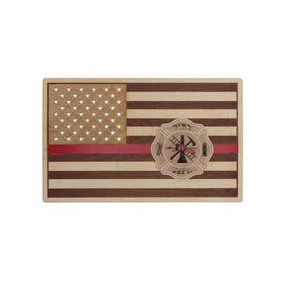 FIRE DEPT FLAG WOOD SIGN