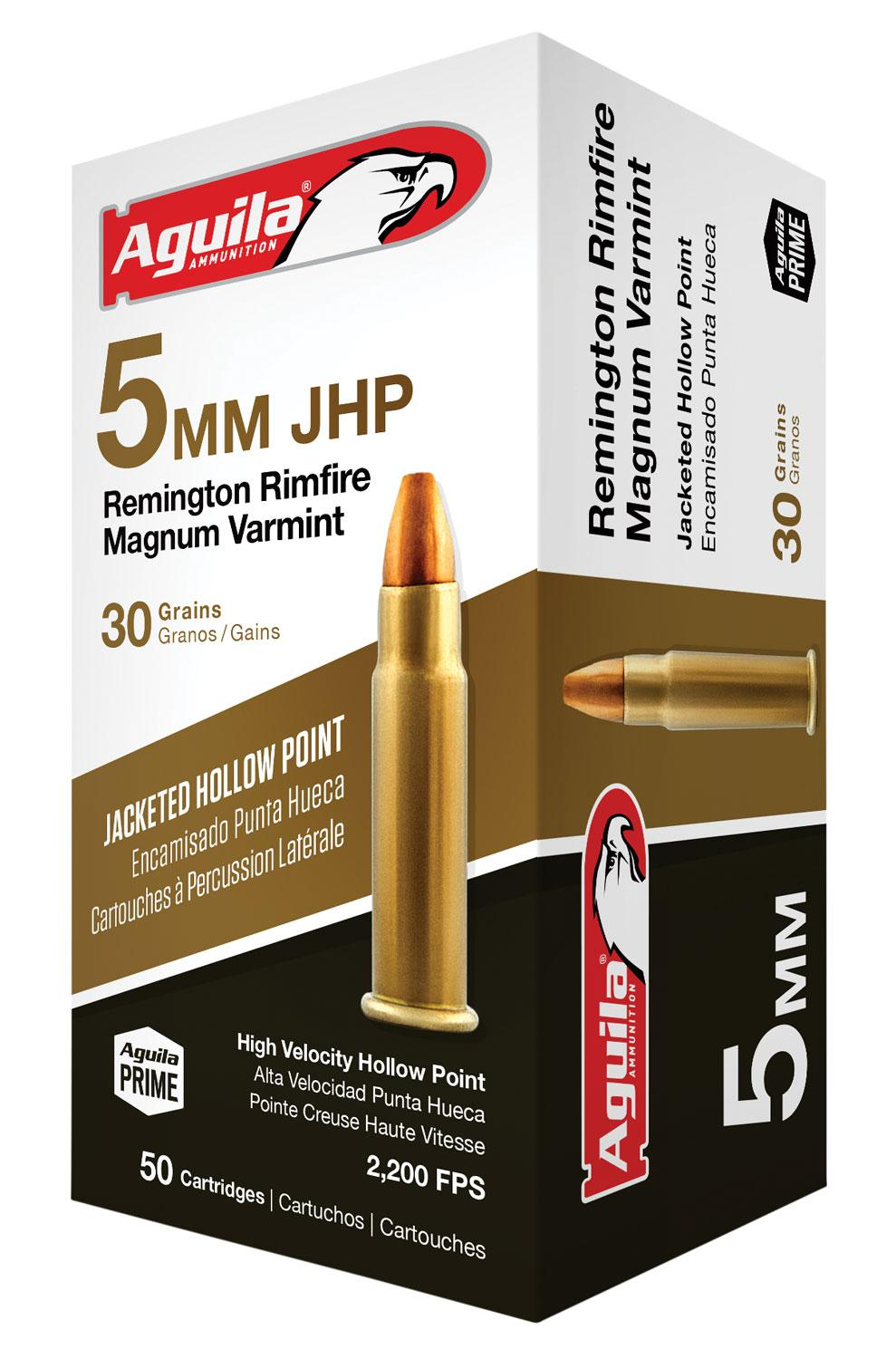 Aguila 1b222406 5mm Remington Rimfire Magnum (Rfm) 30 Gr Jacketed Hollow Point 50 Bx/20 Cs