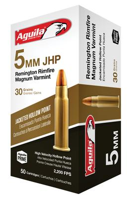 Aguila 1B222406 5mm Remington Rimfire Magnum (RFM) 30 GR Jacketed Hollow Point 50 Bx/ 20 Cs