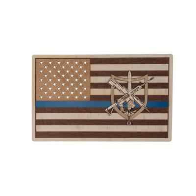 Tactical Patrol Officer Flag Wood Sign