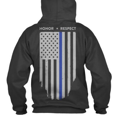 Hoodie-Thin Blue Line American Flag Honor & Respect