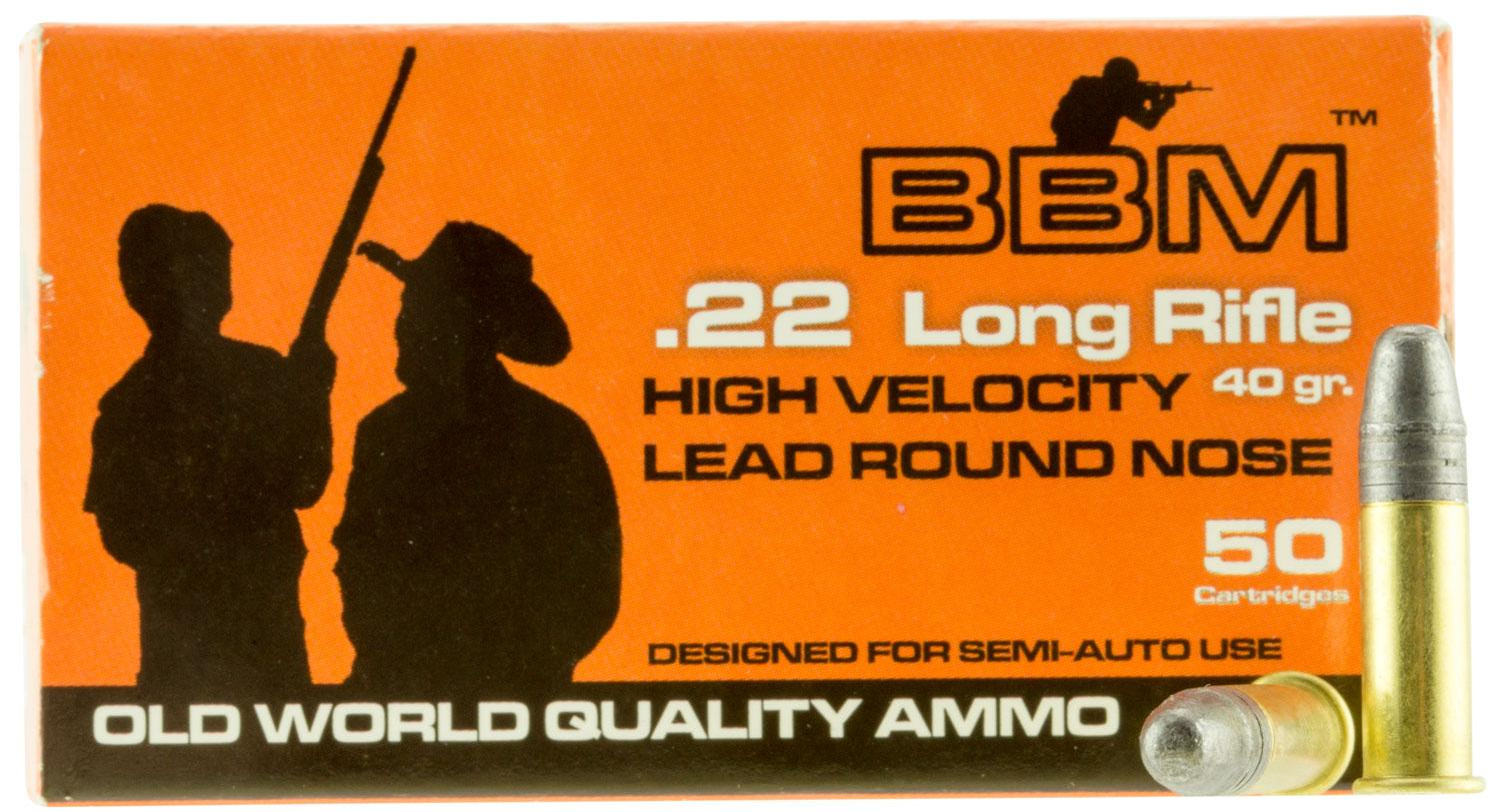 Bbm 899033 High Velocity 22 Lr 40 Gr Lead Round Nose 50 Bx/100 Cs