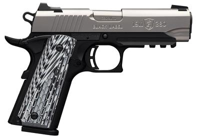 Browning 051929492 1911-380 Black Label Pro Compact with Rail Single 380 Automatic Colt Pistol (ACP) 3.625