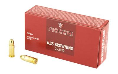 Fiocchi 25AP Pistol Shooting Dynamics 25ACP 50GR FMJ 50 Box/20 Case