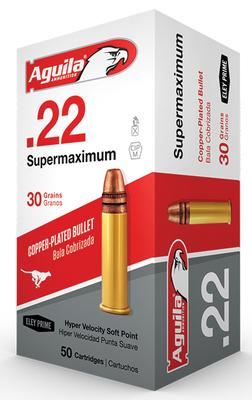 Aguila 1B222298 Super Maximum 22 Long Rifle (LR) 30 GR Solid Point 50 Bx/ 100 Cs