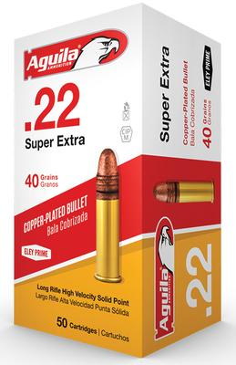 Aguila 1B222328 Standard High Veloctiy 22 Long Rifle (LR) 40 GR Solid Point 50 Bx/ 100 Cs
