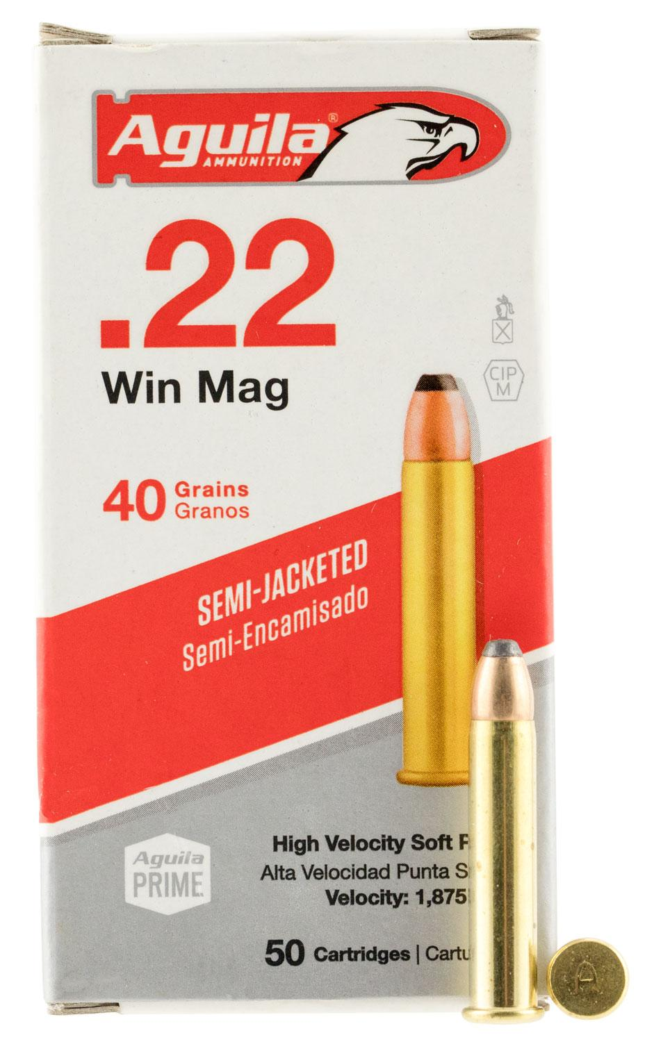 Aguila 1b222401 Silver Eagle 22 Winchester Magnum Rimfire (Wmr) 40 Gr Jacketed Soft Point 50 Bx/20 Cs